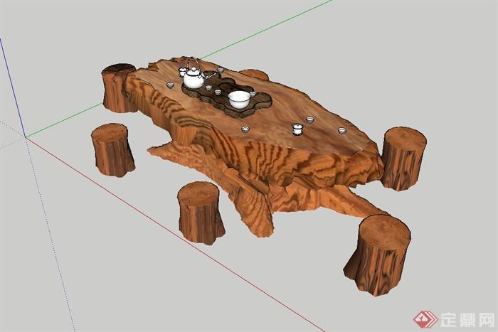 现代风格详细的茶桌凳设计su模型(2)