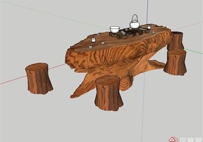 現代風格詳細的茶桌凳設計su模型