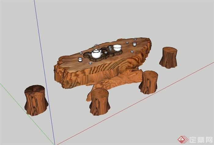 现代风格详细的茶桌凳设计su模型(3)