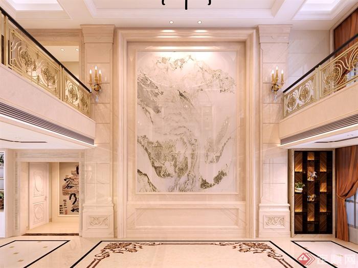 现代风格详细室内过道效果图-过道过道走廊墙体装饰