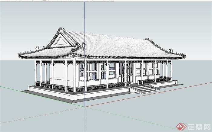 汉代大殿详细建筑设计su模型[原创]图片