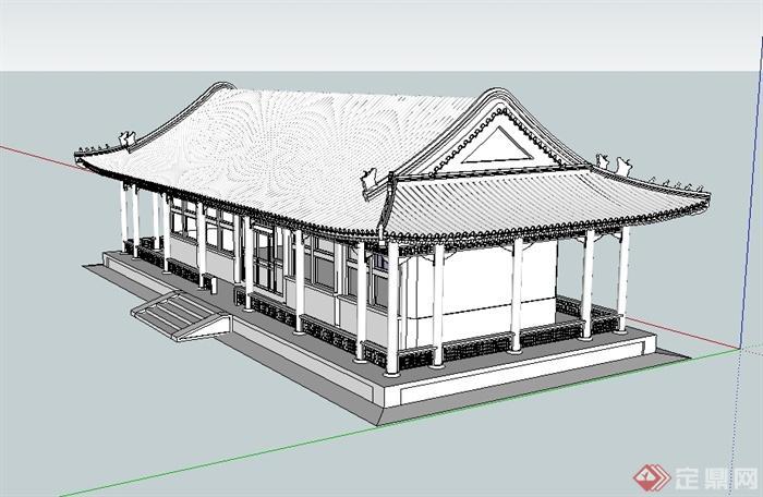 汉代大殿详细建筑设计su模型[原创]