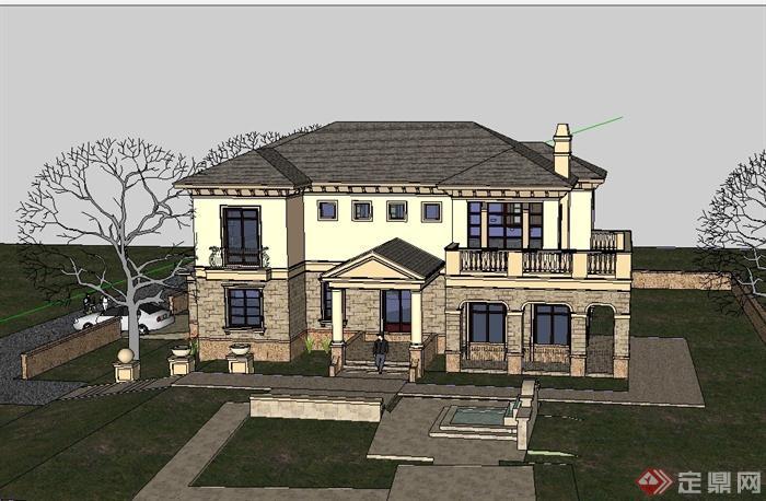 欧式风格详细经典的别墅多层建筑设计su模型[原创]