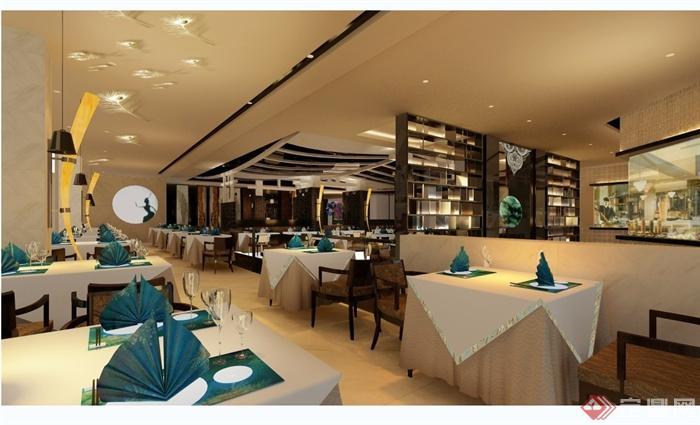 某现代风格详细的彩云餐饮空间设计cad施工效果图(2)