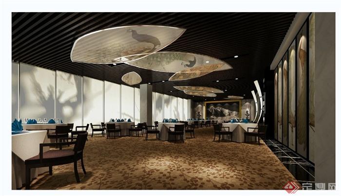 某现代风格详细的彩云餐饮空间设计cad施工效果图(4)