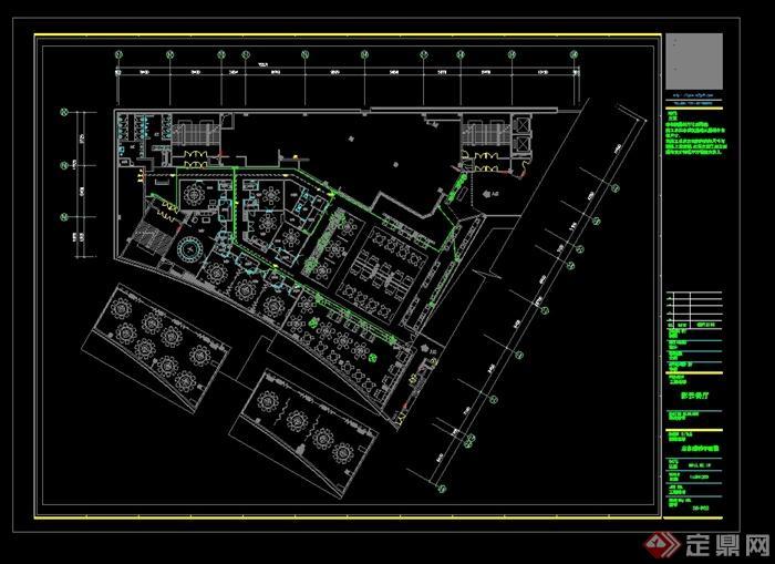 某现代风格详细的彩云餐饮空间设计cad施工效果图(8)