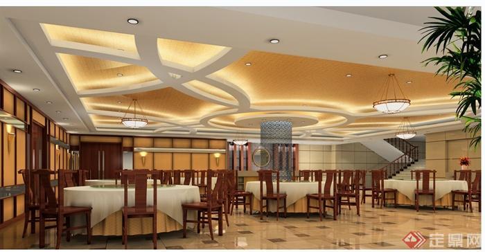 现代中式风格中餐厅设计cad施工装修图 含效果