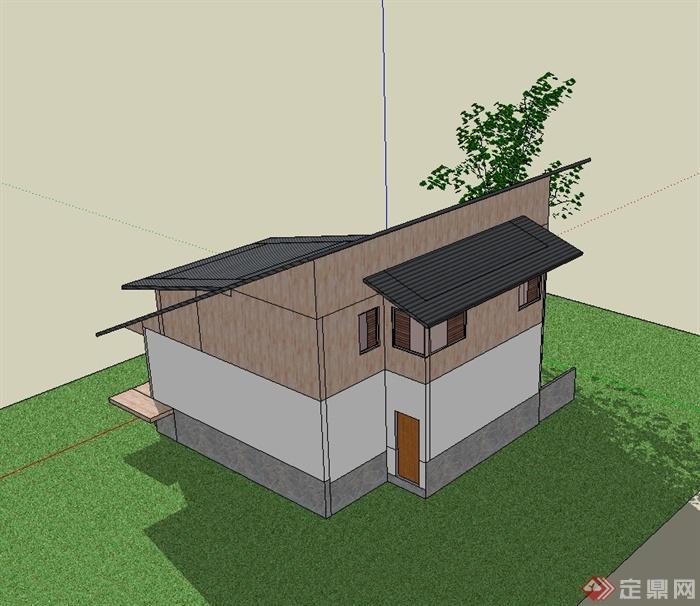 现代风格斜坡屋顶别墅住宅设计su模型