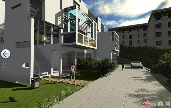 现代简约小别墅设计su模型含效果图