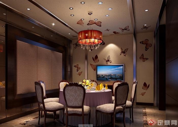 某现代风格详细精致的海鲜餐饮空间设计cad施工及效果图(3)