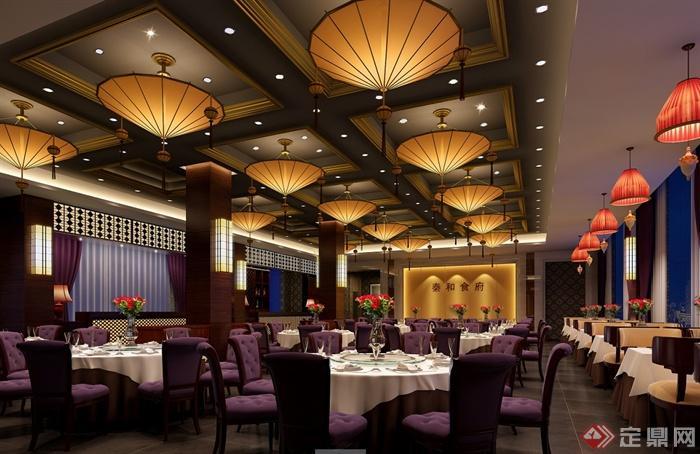 某现代风格详细精致的海鲜餐饮空间设计cad施工及效果图(4)