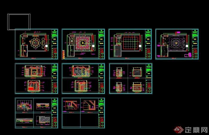 某现代风格详细精致的海鲜餐饮空间设计cad施工及效果图(10)