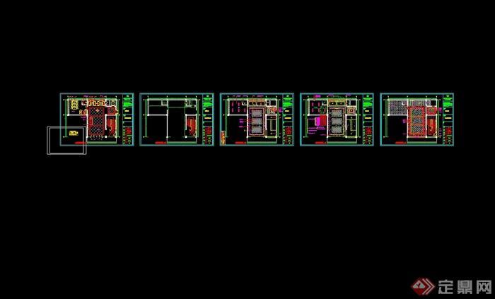 某现代风格详细精致的海鲜餐饮空间设计cad施工及效果图(11)
