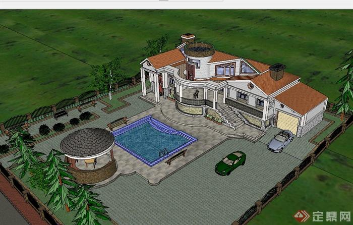 某欧式风格带游泳池的城堡式别墅设计su模型