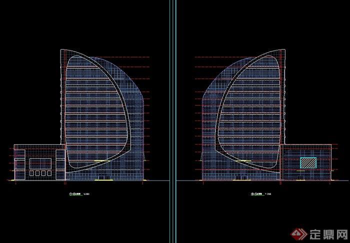 某现代风格电视台建筑规划设计cad方案(1)