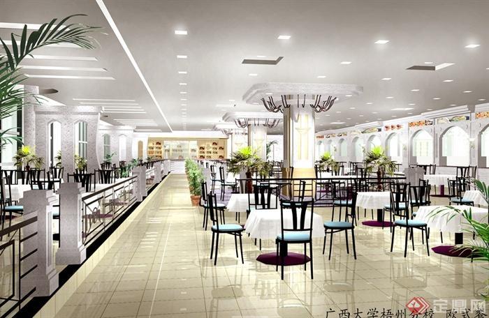 某现代风格详细大学食堂装修设计cad施工图及效果图(3)