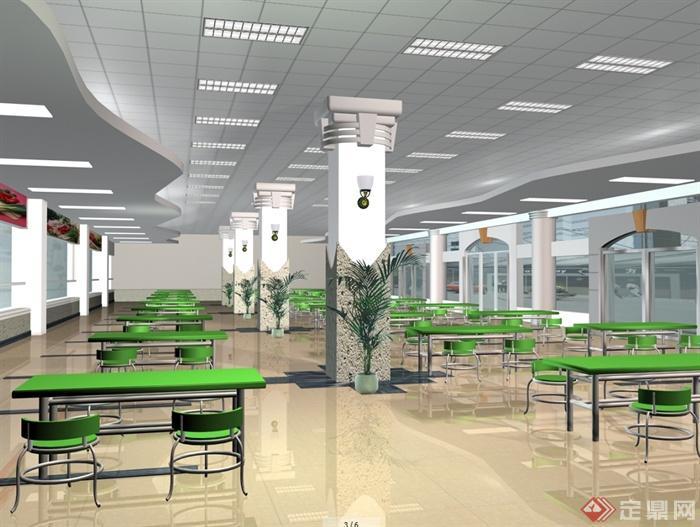 某现代风格详细大学食堂装修设计cad施工图及效果图(2)
