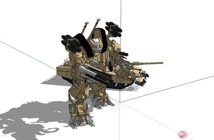 科幻機器人坦克組合設計su模型[原創]