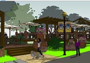 现代风格餐饮休闲区景观设计SU(草图大师)模型