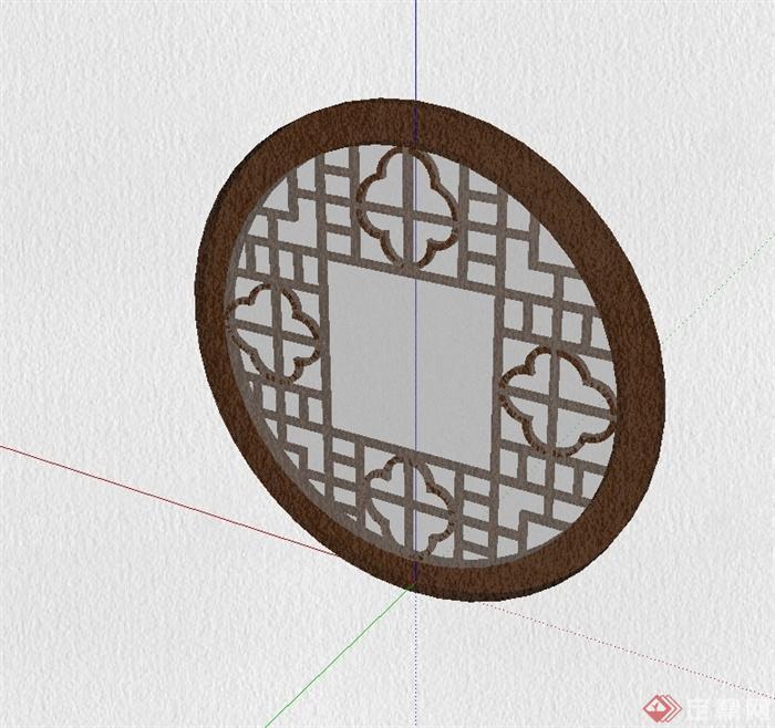 圓形中式風格花窗設計su模型(2)