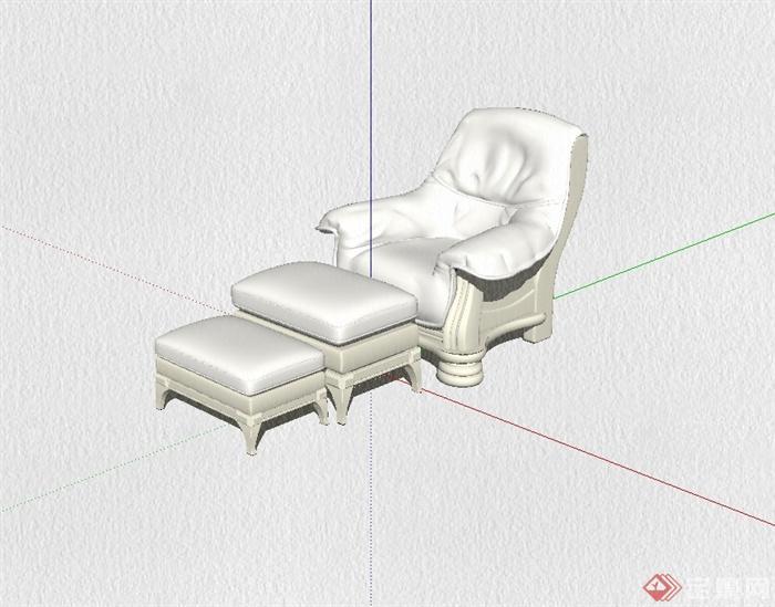 欧式风格详细的室内沙发及坐凳设计su模型[原创]