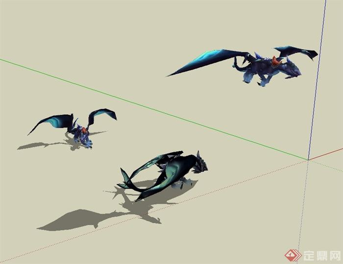 科幻游戏动物坐骑设计su模型[原创]