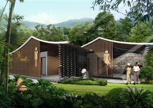 新中式旅游景区公共厕所方案SU模型