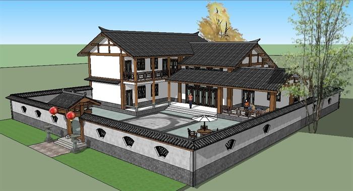 四川地区风格农村别墅合院SU精致设计模型