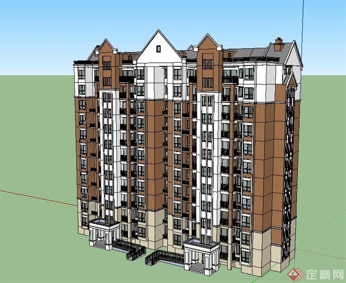 欧式风格详细高层住宅楼设计su模型[原创]