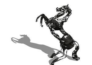 镂空马雕塑Su精致设计模型