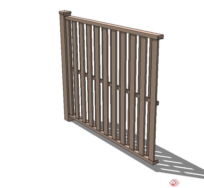 现代风格木质栏杆围栏设计su模型(1)