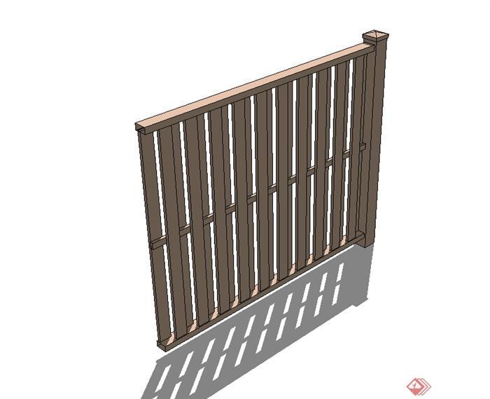 现代风格木质栏杆围栏设计su模型(2)