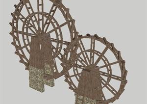 竹筒水车SU(草图大师)景观小品模型
