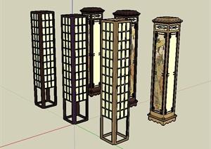 六种日式风格详细景观灯柱装饰品设计SU(草图大师)模型