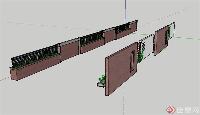 现代风格两堵围墙设计su模型[原创]图片