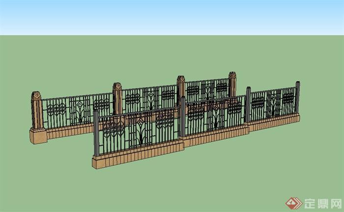 现代风格详细围墙栏杆设计su模型[原创]