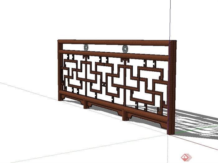 现代中式风格木质围栏栏杆su模型[原创]