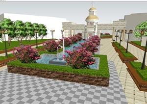 法式小区大门方案SU模型