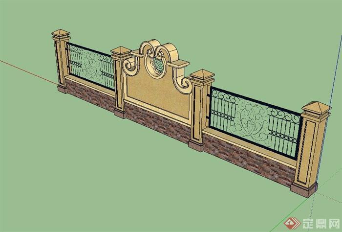 欧式风格详细完整的围墙景墙设计su模型[原创]