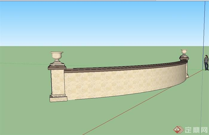 新古典风格弧形景墙详细设计su模型[原创]