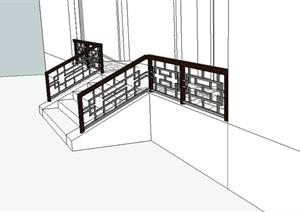 現代中式風格樓梯欄桿設計SU(草圖大師)模型