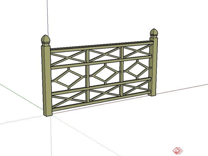 现代中式风格木质栏杆围栏su模型[原创]图片
