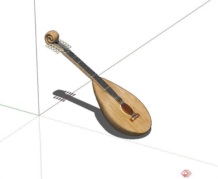 琵琶乐器设计su模型