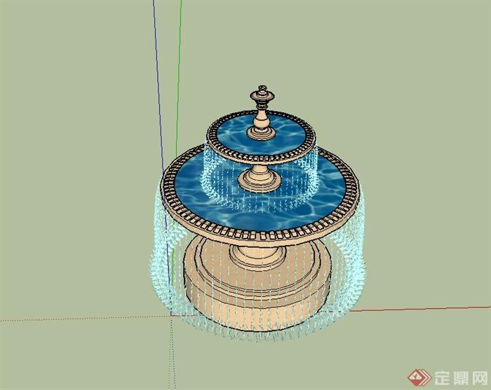 欧式风格详细完整的水钵设计su模型[原创]