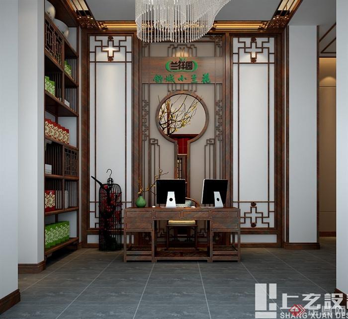 现代中式风格黄山路茶室设计cad方案及效果图(4)