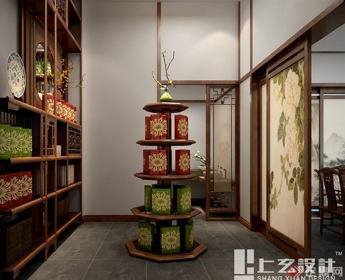 现代中式风格黄山路茶室设计cad方案及效果图(5)