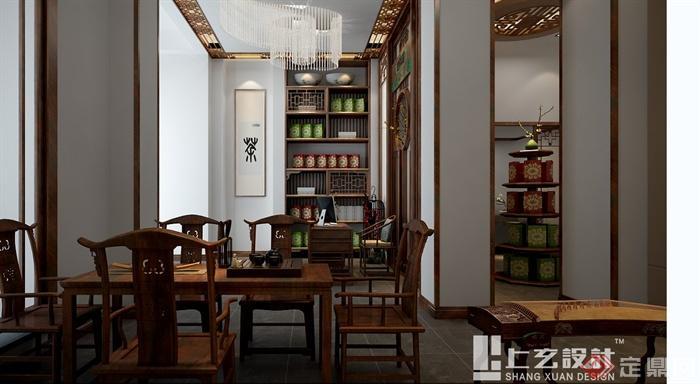 现代中式风格黄山路茶室设计cad方案及效果图(6)