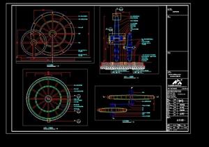 某园林景观水车设计cad详图