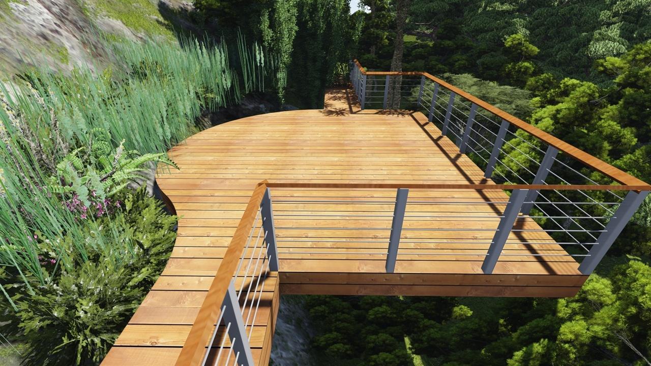 森林公园木结构节点景观场景