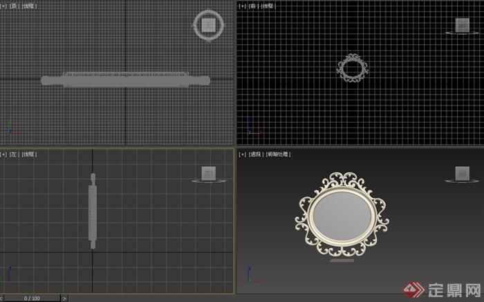 简约欧式雕花镜子设计3d模型(2)